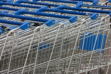 shopping carts stacked up Stock Photo