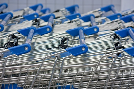 shopping carts stacked up Stock Photo
