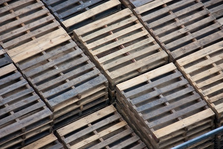 Piles of wooden pallets Stock Photo