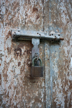 old metal door with lock, at shenzhen, china