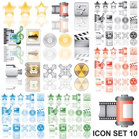 Icons set 10. Variant in black, red, blue, green. Isolated groups and layers.