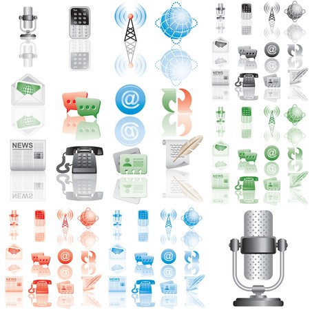 Icons set 1. Variant in black, red, blue, green. Isolated groups and layers. Stock Photo