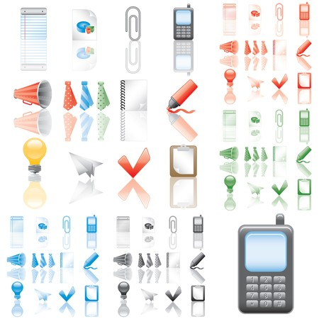 Icons set 3. Variant in black, red, blue, green. Isolated groups and layers.