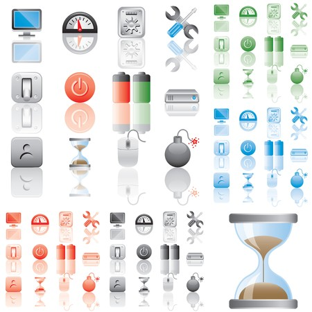 Icons set 4. Variant in black, red, blue, green. Isolated groups and layers.