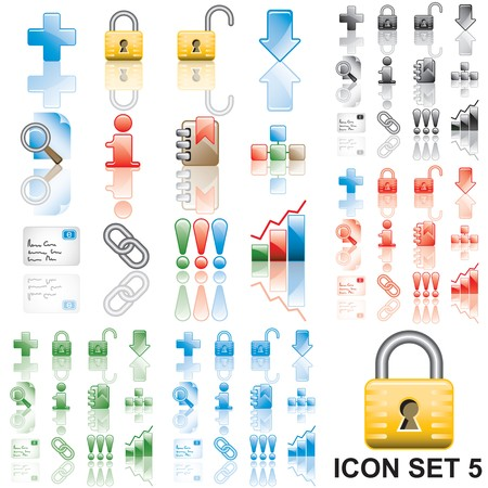 Icons set 5. Variant in black, red, blue, green. Isolated groups and layers.