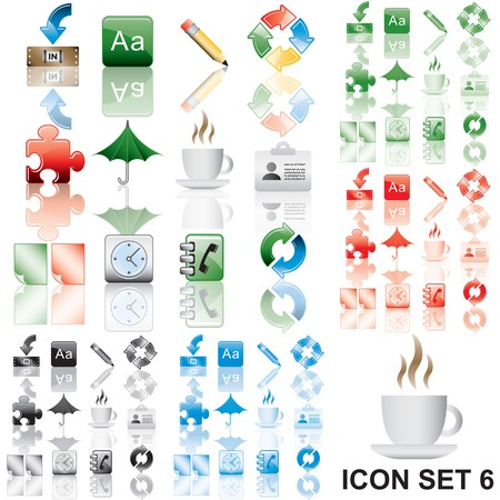 Icons set 6. Variant in black, red, blue, green. Isolated groups and layers.