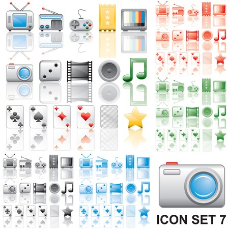 Icons set 7. Variant in black, red, blue, green. Isolated groups and layers.   Stock Photo