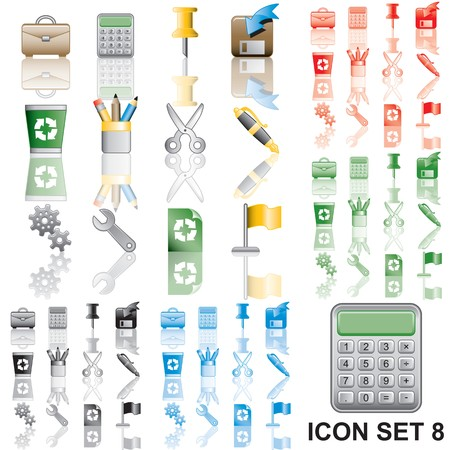 Icons set 8. Variant in black, red, blue, green. Isolated groups and layers.   Stock Photo