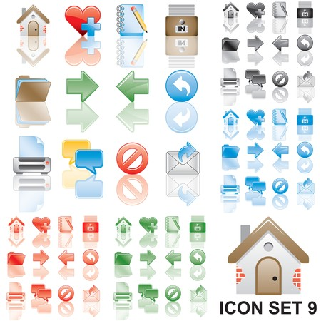 Icons set 9. Variant in black, red, blue, green. Isolated groups and layers.  Stock Photo