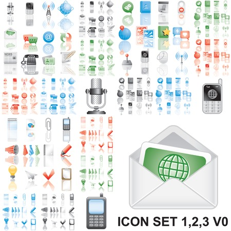flickr: Icons set 1,2,3 Variant in black, red, blue, green. Isolated groups and layers.   Illustration