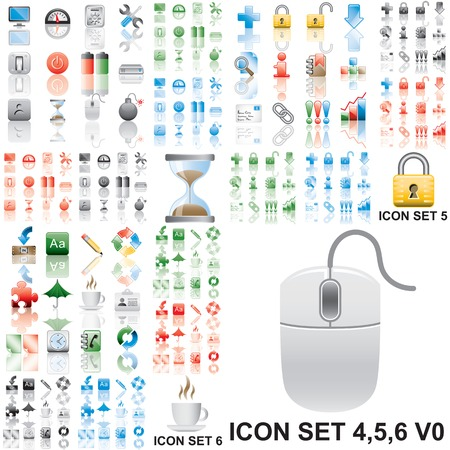 Icons set 4,5,6 Variant in black, red, blue, green. Isolated groups and layers.   Illustration