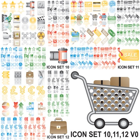 Icons set 10,11,12. Eps8. Variant in black, red, blue, green. Isolated groups and layers.   Vector