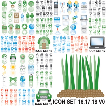 Icons set 16,17,18. Eps8. Variant in black, red, blue, green. Isolated groups and layers.   Illustration