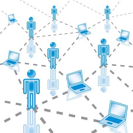 social issues: 3. Computer Network in blu. Eps8. Livelli e gruppi isolati.   Vettoriali
