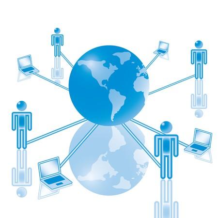 soutien: 7. Global Computer Network en bleu. Eps8. Illustration