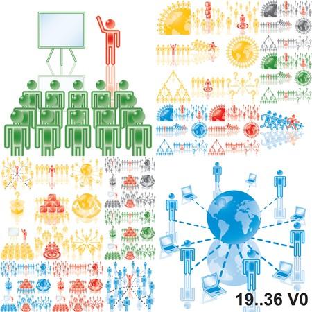 apoyo social: 1..18. Business ilustraci�n. Variante en negro, rojo, azul, verde.
