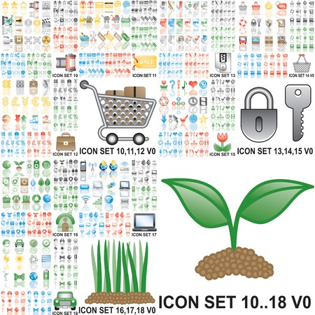 Over 150 icons. Set 10..18. Variant in black, red, blue, green. Isolated groups and layers.  Stock Photo