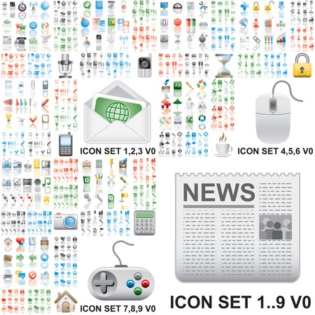 Over 150 icons. Set 1..9. Variant in black, red, blue, green. Isolated groups and layers.