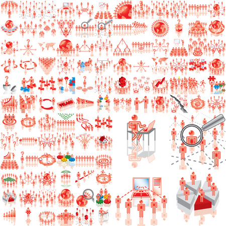 Over 100 business illustrations. Set 1..108. Variant-1 in red. Eps8. Isolated groups and layers.   Illustration