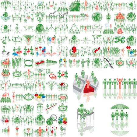 Over 100 business illustrations. Set 1..108. Variant-10 in green. Eps8. Isolated groups and layers.   Illustration