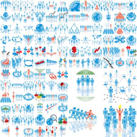 lideres: M�s de 100 de ilustraciones de negocio. Establecer 1..108. Variante-0 en azul. Grupos aislados y las capas.  Vectores