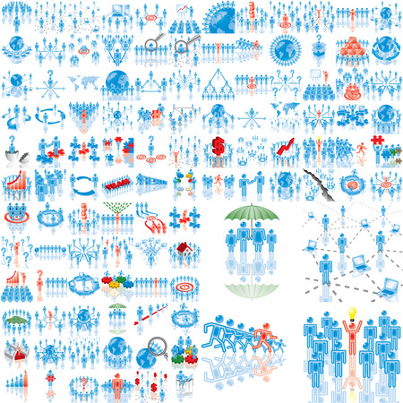 Over 100 business illustrations. Set 1..108. Variant-0 in blue. Isolated groups and layers.