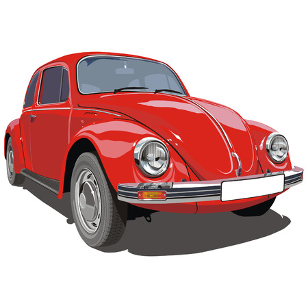 Vector illustation red VW `bug` car.  Stock Vector - 3947756