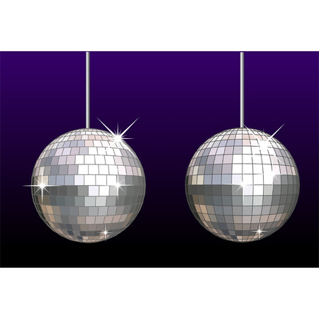 Vector disco-ball set separate by layers: mirrors, frames, stars and background Vector