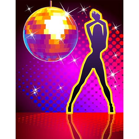 bailarines silueta: Bola de discoteca de vectores en el resumen de antecedentes Vectores