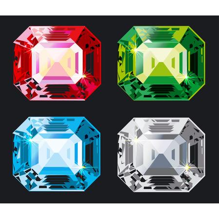 Vector Kristal set gescheiden door een groep en lagen