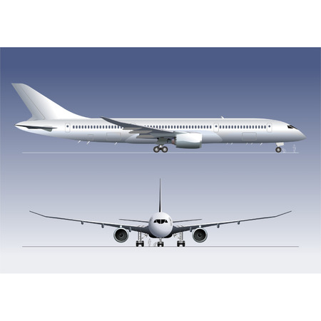 """boeing: Dettagliata illustrazione vettoriale Boeing 787 """"Sogno di linea"""" Vettoriali"""