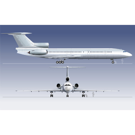Hi-detailed vector illustration passenger jet TU-154