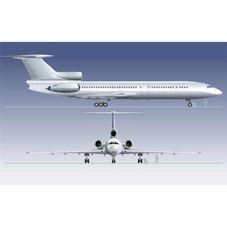 view from the plane: Hi-detallada ilustraci�n vectorial avi�n de pasajeros TU-154