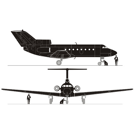 aviations: Vector hi-detailed business jet silhouettes set