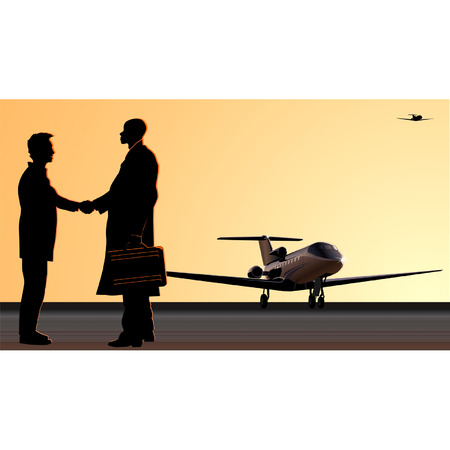 Handshake at the airfield Stock Vector - 4000506