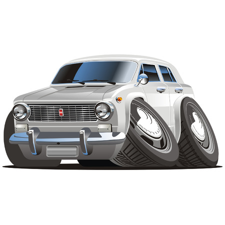 drag: Vector retro cartoon car Lada Illustration