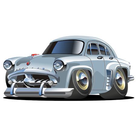 tiges: Vector cartoon retro voiture Moskvich Illustration