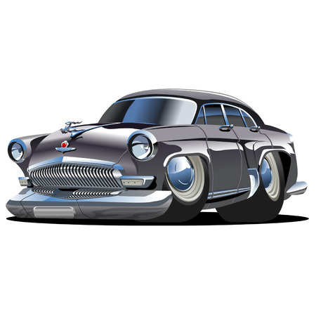 rod sign: Vector cartoon retro car Volga
