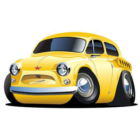 motorized sport: Vector cartoon retro car ZAZ