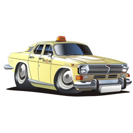vector cartoon: Vector cartoon taxi Vettoriali