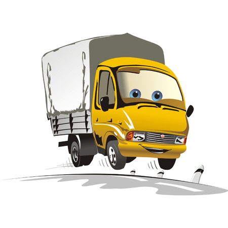 car driver: Cartoon delivery  cargo truck