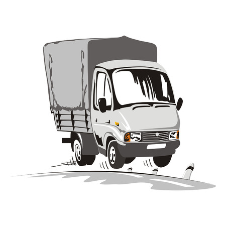 Cartoon delivery  cargo truck 2 Vector