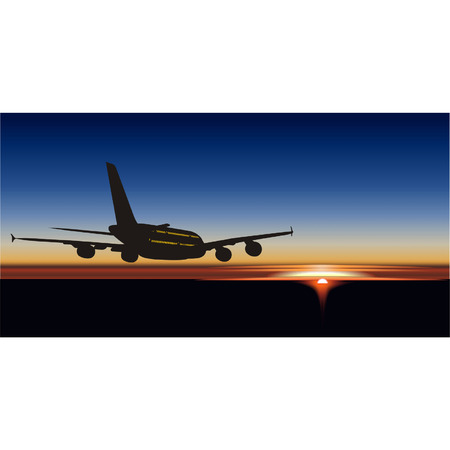 airplane landing: Vector A-380 Lagest Jetliner Illustration