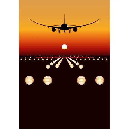boeing: Vector 787 Dreamliner sbarco al tramonto