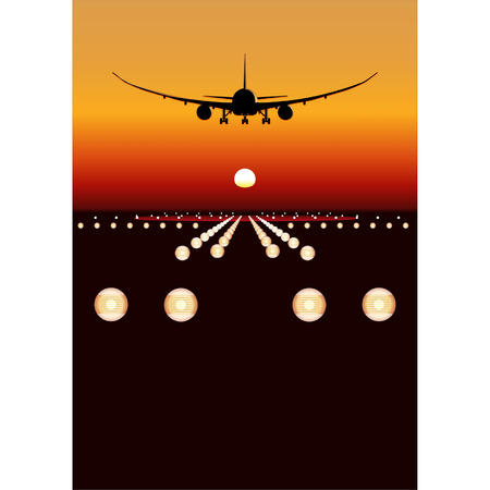 boeing: Vector DreamLiner 787 landing at sunset Illustration