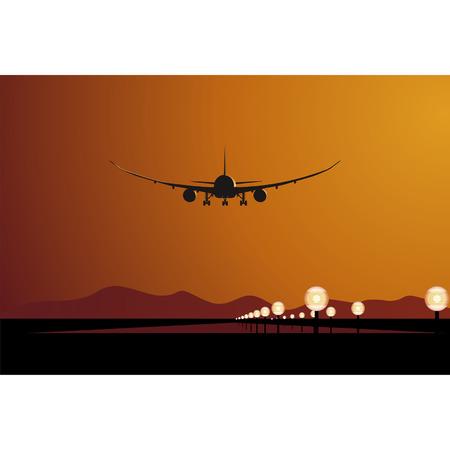 Vector DreamLiner landing at sunset Stock Vector - 4025272