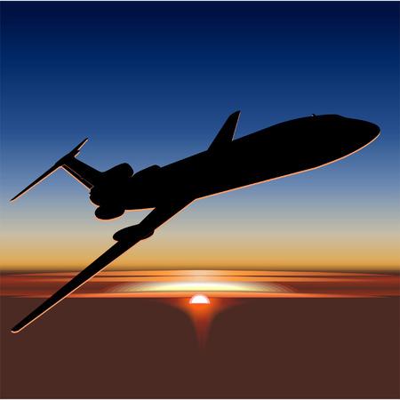 Vector Tu-154 at sunrise Stock Vector - 4025267