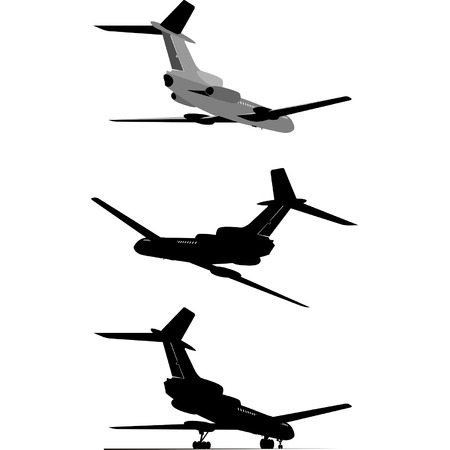 aviations: Passenger jet silhouette set