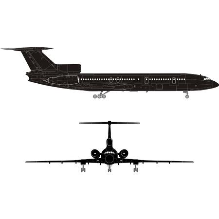 Hi-detailed passenger jet silhouette Vector