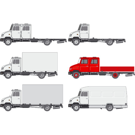 Delivery  cargo truck set Illustration